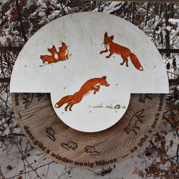Eine Holztafel über Fuchs und Maus